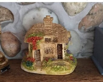 "SALE Miniature Cottage Figurine, ""Rose Cottage"", Dollhouse Miniature, 1:12 Scale, Dollhouse Knick Knack, Decor, Mini House, Accessory, Toppe"