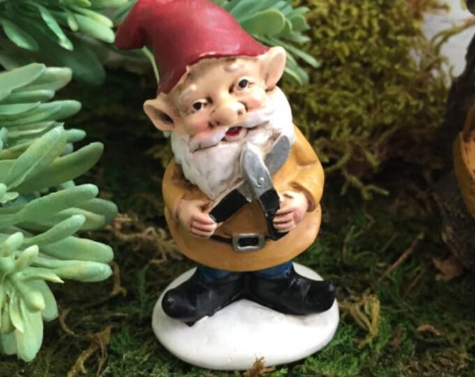 Mini Garden Gnome With Garden Shears Red Hat and Gold Jacket,  Fairy Garden Accessory, Garden Decor, Miniature Gardening