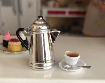 SALE Miniature Silver Coffee Pot and Filled Coffee Cup With Saucer and Spoon, Dollhouse Miniature, 1:12 Scale, Dollhouse Kitchen Decor