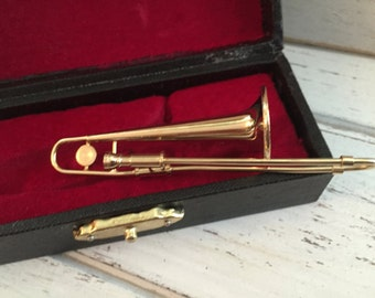 Miniature Trombone with Black Storage Case, Miniature, Mini Musical Instrument, Mini Accessory, Decor, Shelf Sitter, Topper