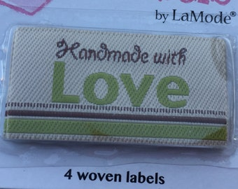 "Iron On Woven Labels, ""Handmade with Love"", Style 2576, Set of 4, Labels by LaMode, Labels to Personalize, Sewing, Crafts, Quilting"