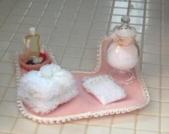 SALE Miniature Bathroom Set, Rug, Cotton Jar, Towels, Nail Polish and More, Dollhouse Miniatures, 1:12 Scale, Bathroom Decor, Accessory