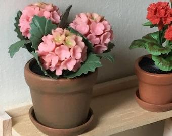 Miniature Pink Hydrangea in Aged Terra Cotta Flower Pot, Style 01, Dollhouse Miniature, 1:12 Scale, Dollhouse Accessory, Mini Flowers