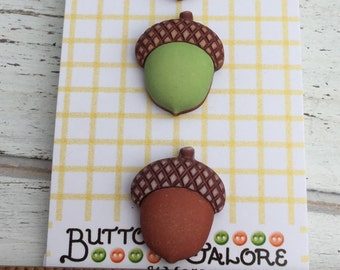 Acorn Buttons, Fall Friends Collection by Buttons Galore, Carded set of 3 Shank Back Buttons, Sewing, Crafting Embellishments