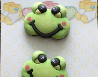 "Frog Buttons, Baby Hugs Collection ""Froggy"" by Buttons Galore, Carded Set of 3 Buttons, Cute, Bright, Shank Back Buttons, Embellishments"