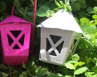 Miniature Yellow Metal Lantern, Fairy Garden Accessory, Miniature Gardening, Home and Garden Decor, Topper, Crafting