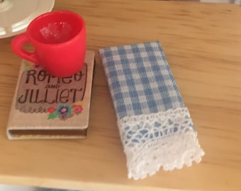 Miniature Kitchen Dish Towels, Blue and White Gingham, Lace Trimmed, Set of 2, Dollhouse Miniatures, 1:12 Scale, Dollhouse Accessories