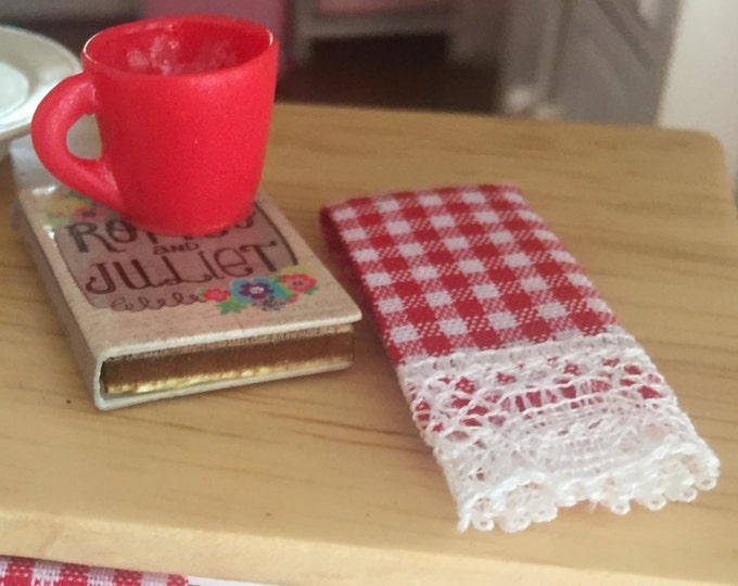 Miniature Kitchen Dish Towels, Red and White Gingham, Lace Trimmed, Set of 2, Dollhouse Miniatures, 1:12 Scale, Dollhouse Decor Accessories