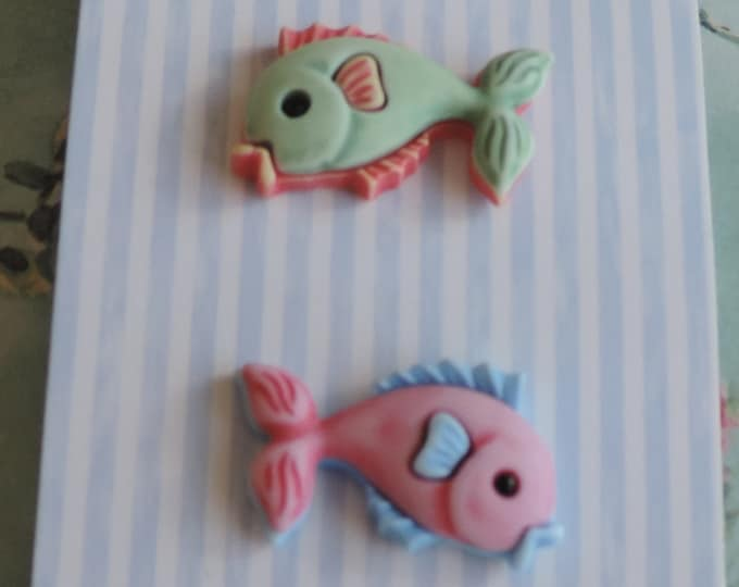 Fish Buttons, Carded Novelty Buttons by Buttons Galore, Multi Colored Fish, Shank Back Buttons, Set of 3, Shank Back Buttons, Embellishments