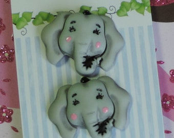 "Elephant Buttons, ""Elsie The Elephant"", Carded Novelty Buttons, Bazooples Collection by Buttons Galore, Carded Set of 3"