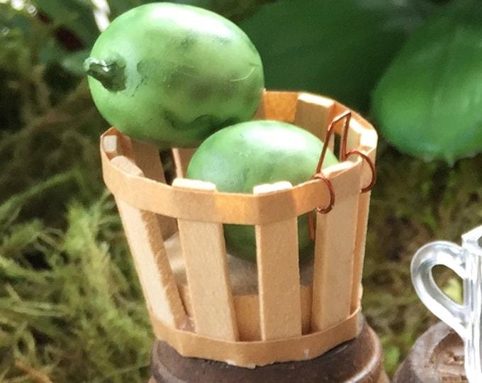 Miniature Wood Bushel Basket Dollhouse Miniature, 1:12 Scale, Garden Accessory, Dollhouse Decor, General Store, Miniature Garden Decor
