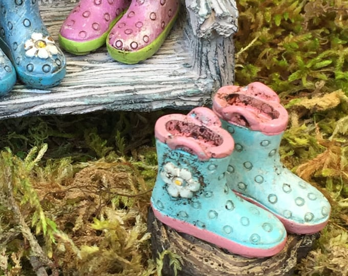 Miniature Rain Boots, Wellies, Blue With Pink Sole, Fairy Garden Accessory, Home and Garden Decor, Dolls and Dollhouses
