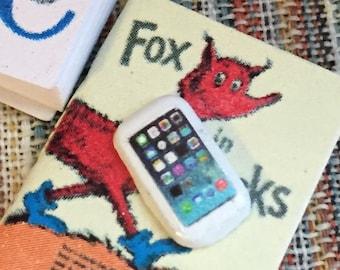 Miniature Cell Phone, Dollhouse Miniature, 1:12 Scale, Mini White Phone, Dollhouse Decor Accessory, Tiny Phone