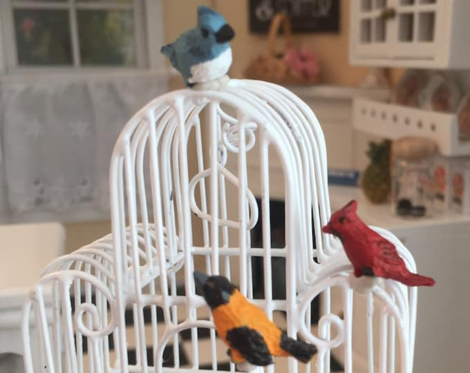 Miniature Bird Figurines, Song Birds, 3 PC Set, Dollhouse Miniatures, 1:12 Scale, Mini Cardinal, Blue Jay, Miniature Birds, Bird Figurines