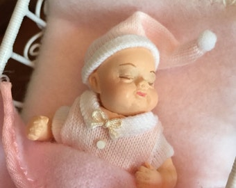 Miniature Sleeping Baby in Pink, Dollhouse 1:12 Scale Miniature, Baby for Dollhouse, Topper, Crafts