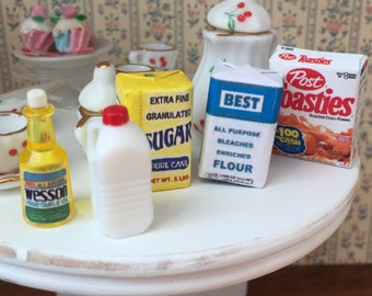 Miniature Food Boxes & Packages, 5 Piece Set, Cereal, Sugar, Flour, Oil and Milk, Dollhouse 1:12 Scale Miniatures, Mini Food, Groceries