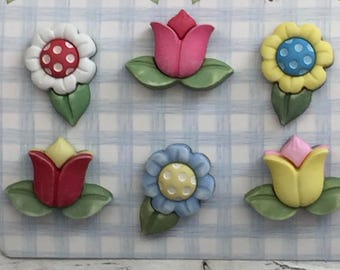 "Flower Buttons, Tulip and Daisy Buttons, Carded Novelty Buttons, ""Spring Flowers"" Style SF104 by Buttons Galore, Bright Flower Buttons"