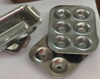 Miniature Aluminum Muffin Cupcake Pans, Dollhouse Miniatures, 1:12 Scale, Set of 2 Pans, Dollhouse Kitchen Accessories