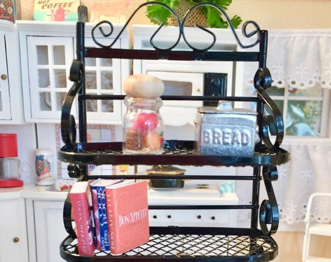Miniature Black Metal Baker's Rack, Dollhouse Miniature Furniture, 1:12 Scale , Dollhouse Kitchen Decor, Miniature Shelf, Metal Shelves