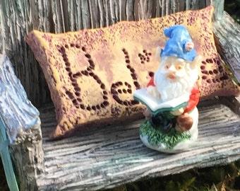 Miniature Gnome, Dollhouse Garden Gnome, Mini Gnome Reading, Dollhouse Miniature, 1:12 Scale, Home & Garden Decor, Accessory, Topper