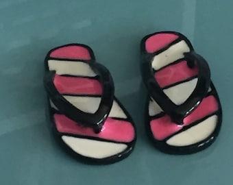Miniature Flip Flops, Pink and White Stripe Flip Flop Shoes, Sandals, Dollhouse Miniature, 1:12 Scale, Accessories, Decor, Mini Shoes