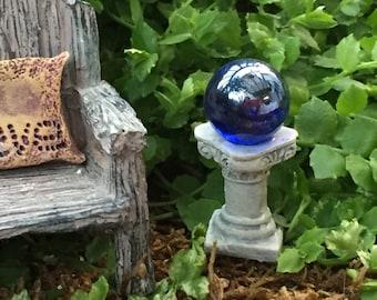 Miniature Blue Gazing Ball, Fairy Garden Accessory, Miniature Garden Decor, Topper