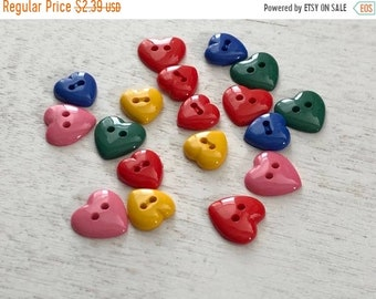 "SALE Heart Buttons, Packaged Assortment, 2 Hole Buttons, """"Hearts of Color"" Style 4125, by Buttons Galore, Sewing, Crafting, Embellishments"