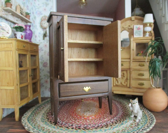 Miniature Armoire, Wood Armoire 2 Door Cabinet With Shelves and Drawer, Style #58,  Dollhouse Miniature Furniture, 1:12 Scale
