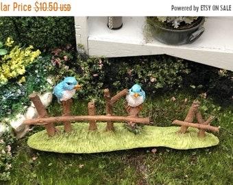 SALE Birds on Fench Figurine, Mini Blue Birds on Wood Fence, Fairy Garden Accessory, Miniature Garden Decor, Shelf Sitter, Bird Figurine