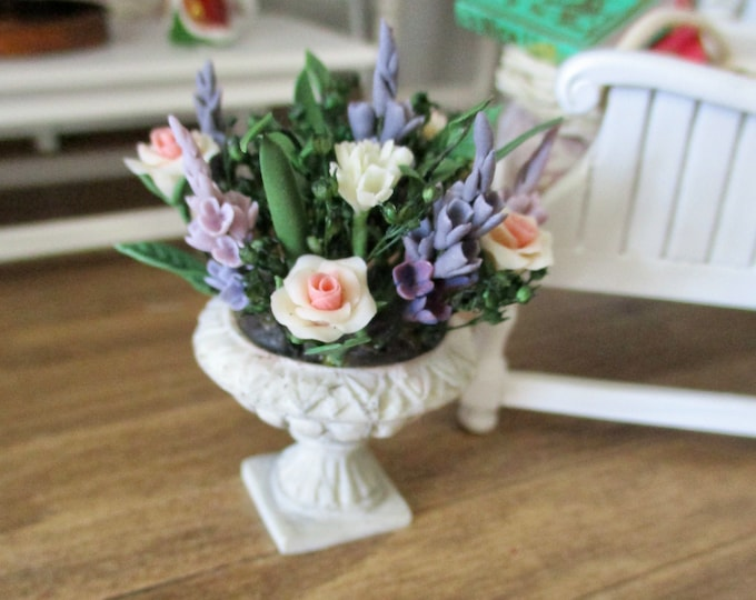 Miniature Flower Arrangement, Mini Roses And Assorted Flowers In Round Pedestal, Style #17, Dollhouse Miniature, 1:12 Scale, Mini Flowers