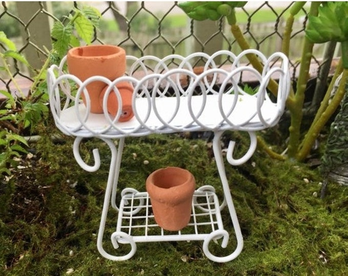 SALE Miniature Metal Plant Stand, White Mini Plant Stand, Garden Stand, Fairy Garden Accessory, Miniature Garden Dollhouse Decor