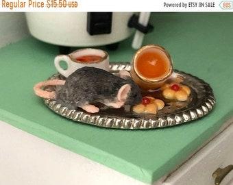 SALE Miniature Mouse Figurine, Mouse With Tea and Cookies #26, Dollhouse Miniatures, 1:12 Scale, Dollhouse Decor, Topper, Crafts, Shelf Sitt