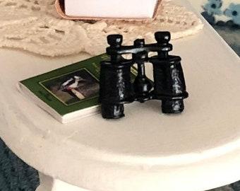 SALE Miniature Binoculars, Dollhouse Miniature, 1:12 Scale, Black Binoculars, Dollhouse Accessory, Decor, Crafts
