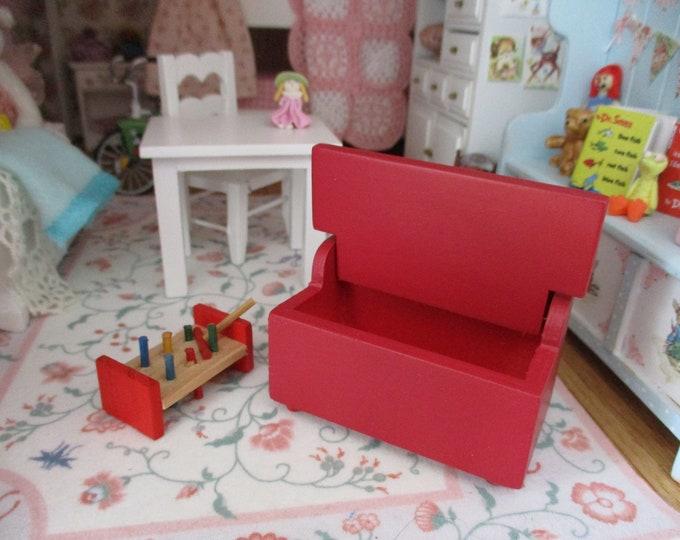 Miniature Trunk, Mini Red Toy Box Trunk Chest, Dollhouse Miniature Furniture, 1;12 Scale, Mini Wood Chest