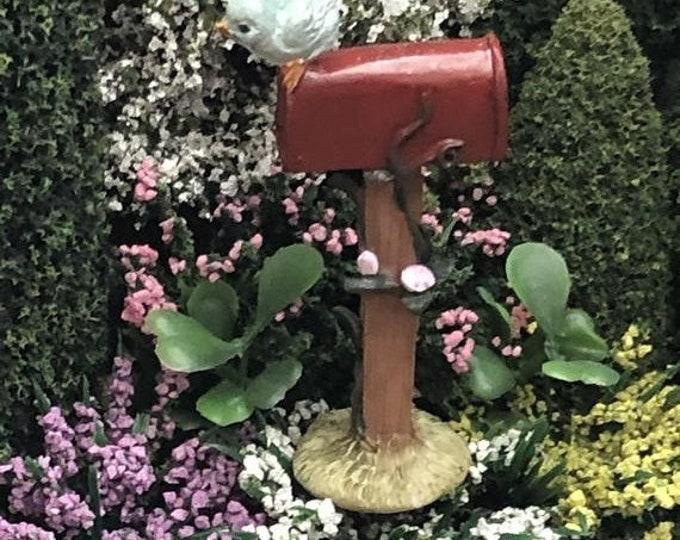 SALE Mini Red Mailbox with Blue Bird, Fairy Garden, Miniature Garden Accessory, Decor, Mini Resin Mail Box