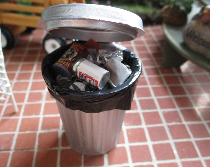 Miniature Garbage Can With Trash, Mini Filled Trash Can, Style #02, Dollhouse Miniature, 1:12 Scale, Dollhouse Decor