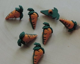 SALE Carrot Buttons, Packaged Novelty Buttons by Buttons Galore, Style #4093, Fun With Food Collection, Shank Back Buttons, Embellishments