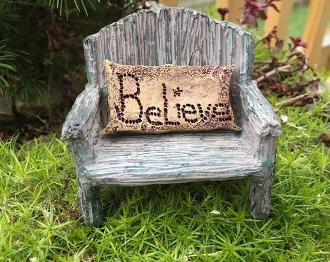 SALE Fairy Bench With Believe Pillow, Distressed Bench, Fairy Garden Accessory, Miniature Home & Garden Decor, Mini Bench, Resin Chair