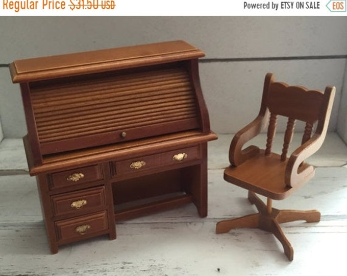 SALE Miniature Roll Top Desk and Swivel Chair Set, Wood Dollhouse Office Furniture, Dollhouse Miniatures, 1:12 Scale, Office Decor, Work Des