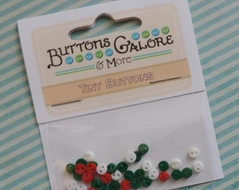 SALE Micro Christmas Buttons, Teeny Tiny Micro Buttons by Buttons Galore, Packaged Assortment, #1801, 2 Hole Buttons, Sewing, Crafting