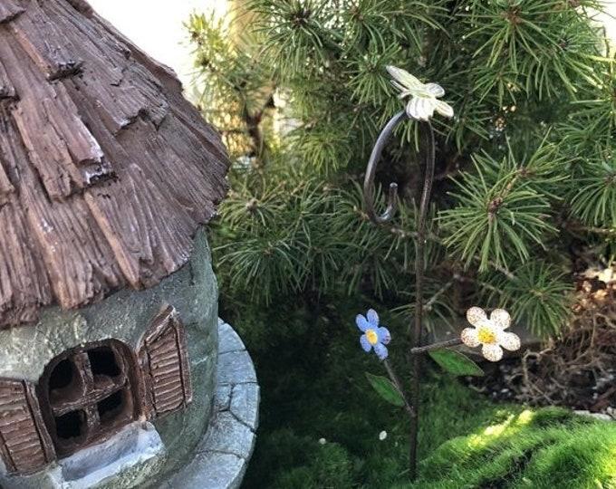 "SALE Mini Shepherd's Hook, ""Bloomin Flowers"", Mini Metal Hook with Butterfly and Flowers, Fairy Garden Accessory, Miniature Garden Decoratio"