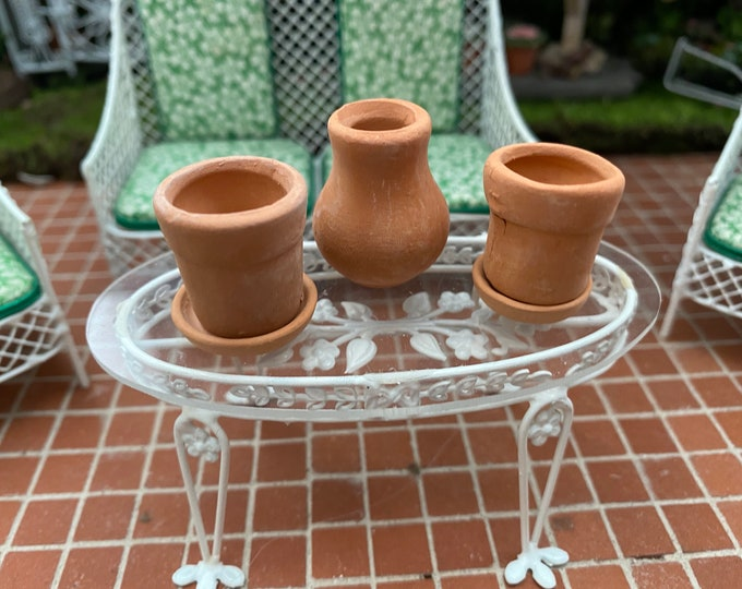 Miniature Terra Cotta Flower Pots, 5 Piece Set, Dollhouse Miniature, 1:12 Scale, Dollhouse Decor, Accessory, Miniature Gardening