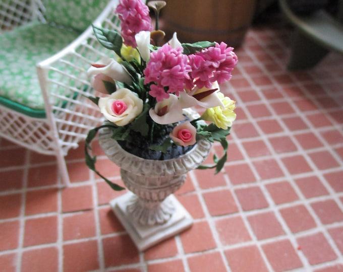Miniature Flower Arrangement, Assorted Flowers in Miniature Pedestal Planter, Style #15, Dollhouse Miniature, 1:12 Scale, Dollhouse Decor