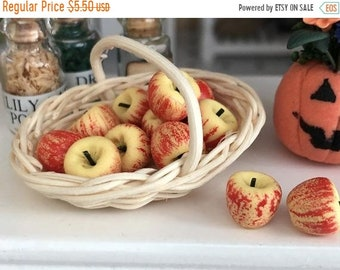 SALE Miniature Apples, 12 Macintosh Apples, Dollhouse Miniatures, 1:12 Scale, Miniature Food, Fruit, Dollhouse Food, Accessory, Decor
