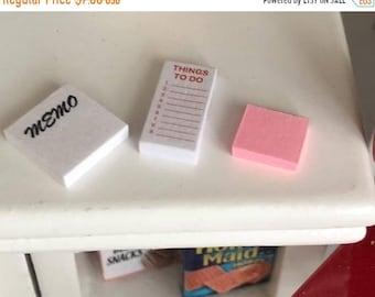 SALE Miniature Paper, Memo Pad, Things To Do List Pad, 3 Piece Set, Dollhouse Miniatures, 1:12 Scale, Miniature Note Pad Set