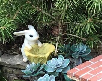 SALE Mini Bunny With Cabbage Planter Figurine, Mini White Bunny Rabbit,  Fairy Garden Accessory, Home & Garden Decor, Shelf Sitter, Topper,