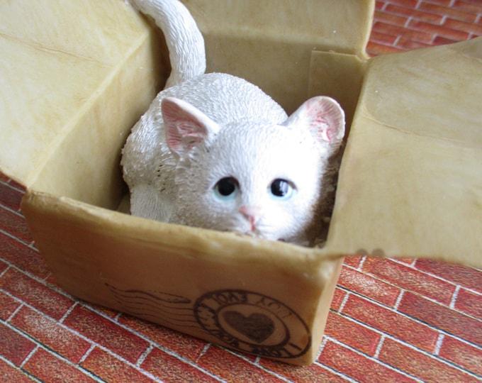 Kitten Hiding in Box Figurine, Cute White Kitty Cat Figurine, Shelf Sitter, Fairy Garden Miniature Garden Decor, Gift