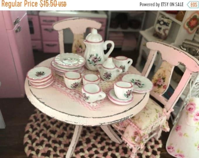 SALE Miniature Pink Rose China Tea Set, 17 Pieces, Dollhouse Miniatures, 1:12 Scale, Dollhouse Accessory, Decor, Dishes, Cream, Sugar