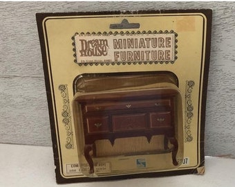 SALE Miniature Table, Vintage Dream House Low Boy, Commode With 5 Drawers, Original Package, Dollhouse Miniature Furniture, 1:12 Scale