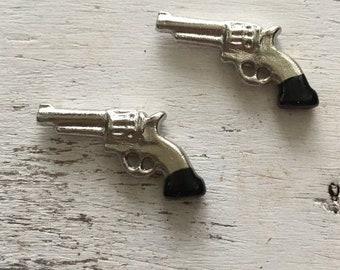 Miniature Cast Metal Hand-Painted Western Six Gun Pistol DOLLHOUSE 1:12